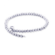 10K White Gold Moon Cut Chain Bracelet 6mm 7.5-9in