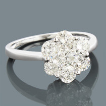 14K 7 Stone Ladies Diamond Cluster Ring 1.65ct