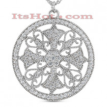 14K Antique Style Diamond Pendant 0.89ct