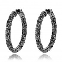 14K Black Diamond Hoop Earrings 5.91ct