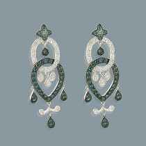 14K Blue Diamond Chandelier Earrings 0.96ct