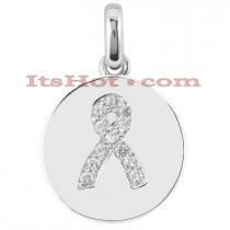14K Breast Cancer Awareness Diamond Pendant 0.36ct