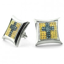 14K Cross Fancy Color Diamond Stud Earrings 0.85ct