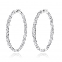 14K Gold Dazzling Diamond Hoop Earrings Inside Out 7ct