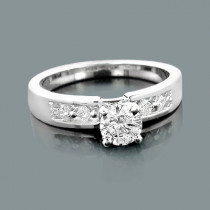 Affordable 14K Gold Princess and Round Diamond Engagement Ring 0.62ct