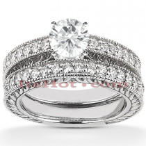 14K Designer Diamond Engagement Ring Set 0.35ct