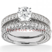 14K Designer Diamond Engagement Ring Set 0.85ct