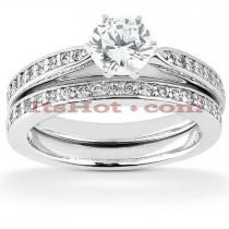 14K Designer Diamond Engagement Ring Set 0.88ct
