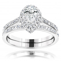 14K Designer Diamond Engagement Ring Set 1.18ct