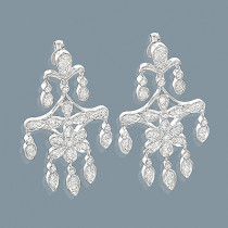 14K Diamond Chandelier Earrings Flower Motif 0.71ct
