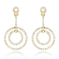 14K Gold Diamond Circle Drop Earrings 0.60ct