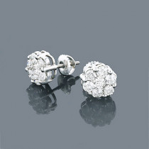 14K Diamond Cluster Earrings 1.53ct