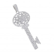 14K Diamond Key Necklace 1.0ct