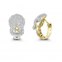 14K Gold Diamond Love Knot Hoop Earrings 0.75ct