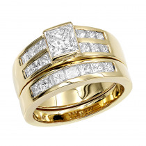 14K Gold 2 Carat Princess Cut Diamond Engagement Ring & Wedding Band Set