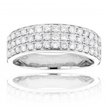 14K Gold 3 Row Diamond Ring 1.35ct Luxurman Wedding Band