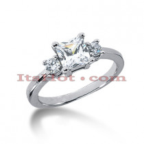Ultra Thin 14K Gold 3 Stone Diamond Engagement Ring 0.60ct