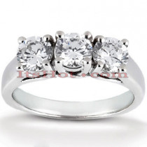 Thin 14K Gold 3 Stone Diamond Engagement Ring 0.99ct