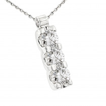 14k Gold 3 Stone Diamond Journey Necklace 1.2ct Ladies Pendant with Chain