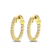 14K Gold 3/4in Inside Out Yellow Diamond Hoop Earrings 1 Carat by Luxurman