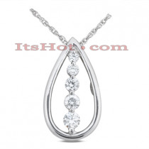 14k Gold 5 Stone Diamond Journey Necklace 0.25ct