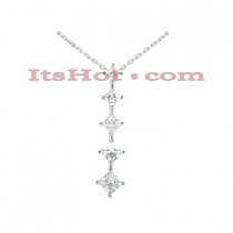 14k Gold 5 Stone Diamond Journey Necklace 3.9ct