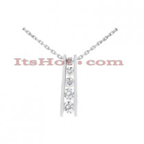 14k Gold 5 Stone Diamond Journey Pendant 1.05ct