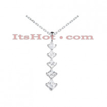 14k Gold 5 Stone Diamond Journey Pendant 1.08ct
