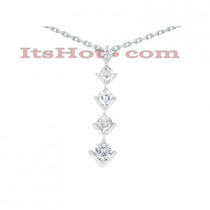14k Gold 5 Stone Diamond Journey Pendant 2ct