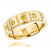 14K Gold 5 Yellow Diamond Wedding Band 0.3ct Comfort Fit Five Stone Ring