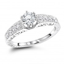 14K Gold Antique Style Diamond Engagement Ring 0.90ct