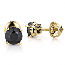 14K Gold Black Diamond Earrings Prong Set Studs 1.25ct
