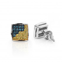 14K Gold Blue Yellow Diamond Earrings 0.19ct