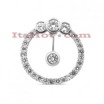 14K Gold Circle Cut-Out Diamond Pendant 1.64ct