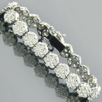 14K Gold Cluster Designer Diamond Bracelet 15.40ct
