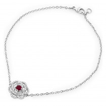 14K Gold Delicate Flower Designer Ruby and Diamond Bracelet For Women
