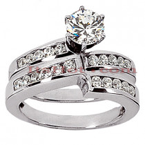 14K Gold Designer Diamond Engagement Ring Set 0.63ct