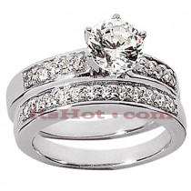 14K Gold Designer Diamond Engagement Ring Set 0.66ct