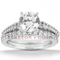 14K Gold Designer Diamond Engagement Ring Set 0.87ct
