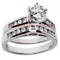 14K Gold Designer Diamond Engagement Ring Set 0.90ct