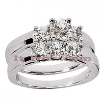 14K Gold Designer Diamond Engagement Ring Set 0.91ct