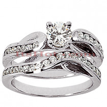 14K Gold Designer Diamond Engagement Ring Set 0.98ct