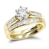 14K Gold Designer Diamond Engagement Ring Set 1.07ct