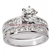 14K Gold Designer Diamond Engagement Ring Set 1.40ct