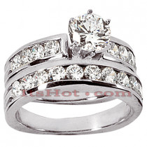 14K Gold Designer Diamond Engagement Ring Set 1.94ct