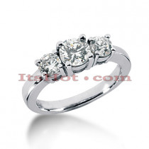 Thin 14K Gold Diamond 3 Stone Engagement Ring 0.40ct