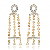 14K Gold Diamond Chandelier Earrings 0.36ct