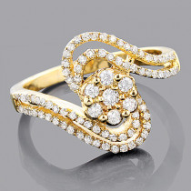 14K Gold Diamond Cluster Ring 0.56ct