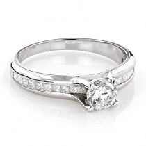 Princess Cut and Round Diamond Engagement Ring 1.13ct 14k Gold