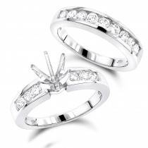 14K Gold Diamond Designer Engagement Ring Set 0.99ct